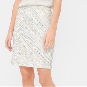 WHBM White Embellished Skirt Sz 12